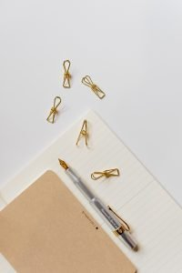 kaboompics Fountain pen clips and notebooks on a white desk