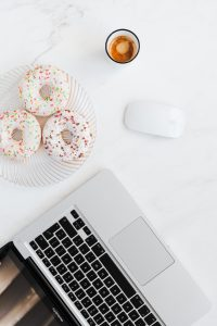 kaboompics Macbook Laptop donuts coffee